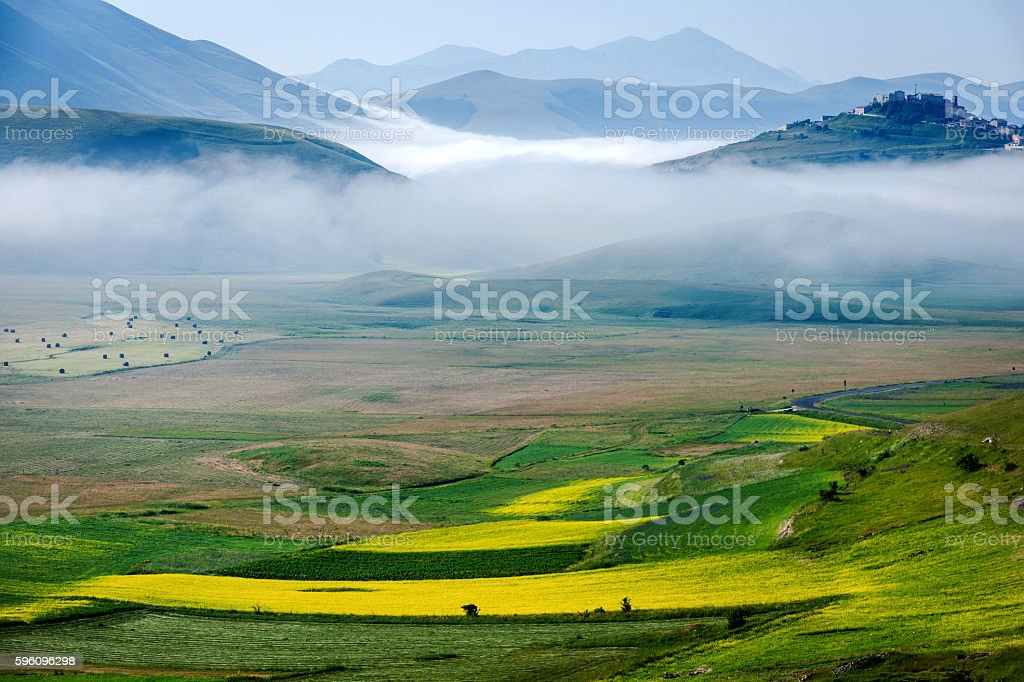 Castelluccio di Norcia (Italy), Village on a green hill,morning royalty-free stock photo