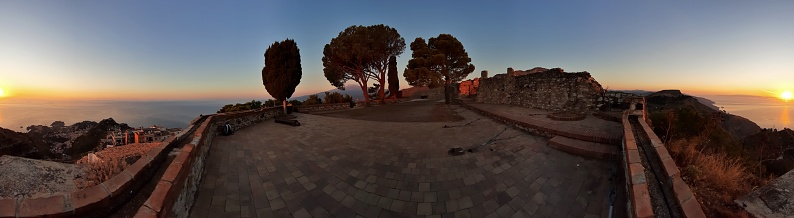 Castelmola, Sicily, Italy - August 29, 2020: Panoramic photo from the terrace of the castle at dawn