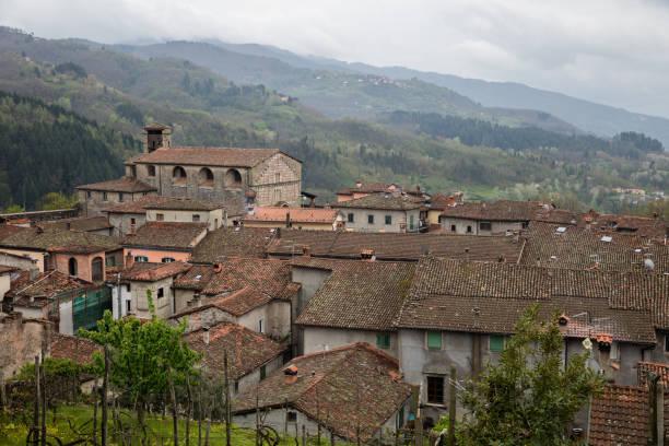 Castelnuovo di Garfagnana in Toscany, italy - roofs of the city stock photo