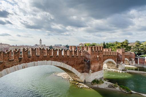 Castelvecchio, bridge and fortress, Adige river, Veneto, Italy