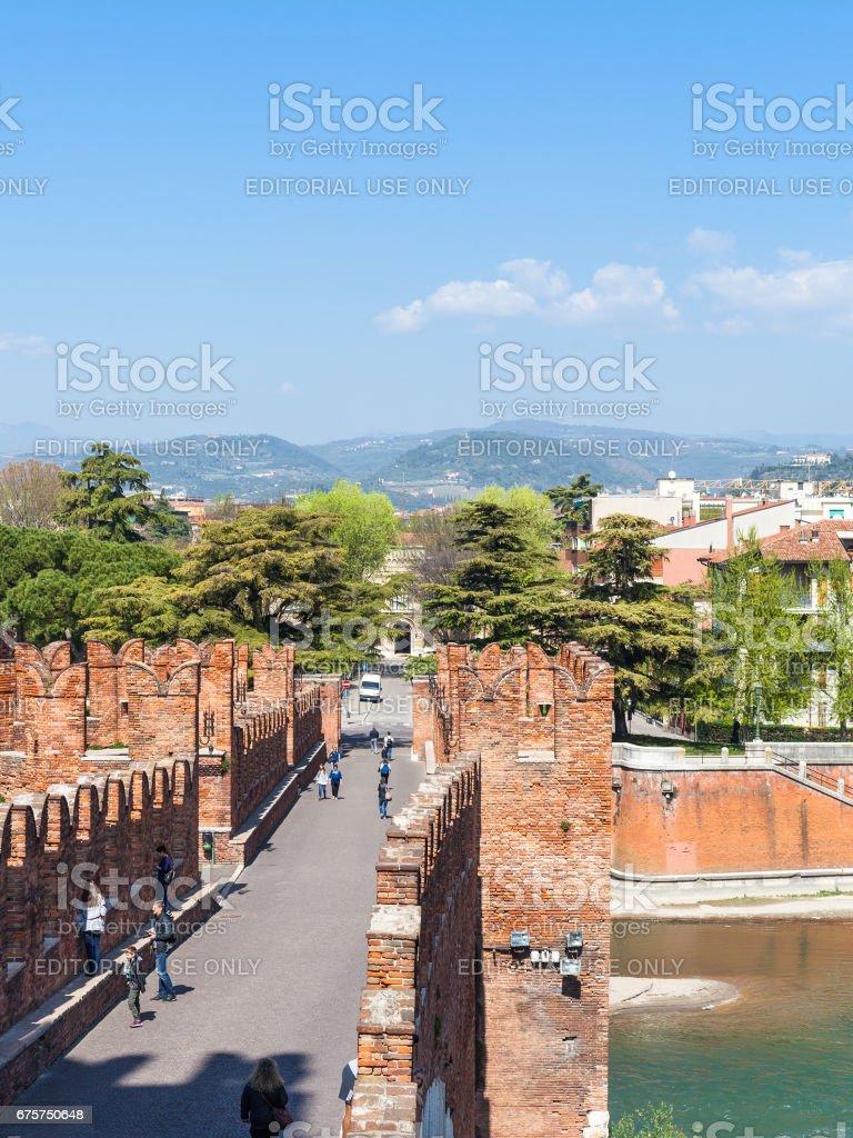 Castelvecchio Bridge with tourists in Verona stock photo