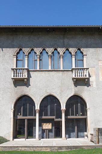 Verona, Italy- March 16, 2018:  Courtyard of Castelvecchio is castle in Verona. Italy