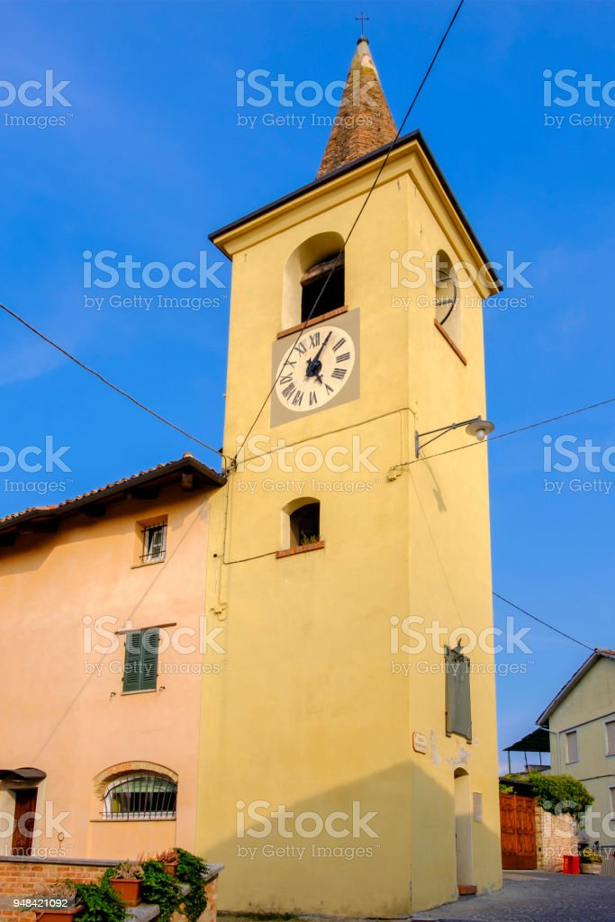 Castiglione Falletto in the Langhe, a hilly area mostly based on vine cultivation and well known for the production of Barolo wine. Province of Cuneo, Piedmont, Italy stock photo