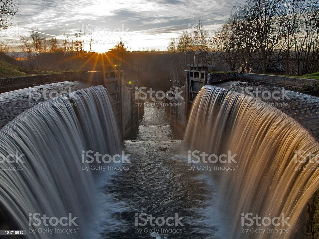Castilla Canal locks in the province of Palencia, Spain stock photo
