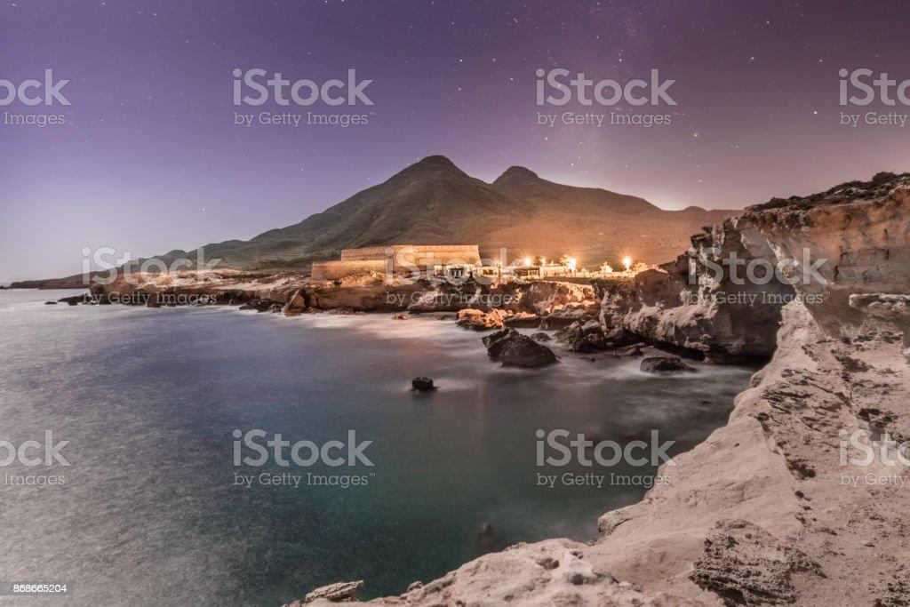 castillo de los escullos en almeria stock photo