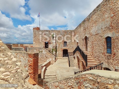 Castillo de San Pedro de la Roca, Santiago de Cuba, Cuba - September 25, 2014: brick structure of the fortress also know as Castillo del Morro, designed in 17th Century, as a defense against pirates.