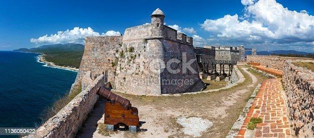 Wide Panoramic View of Castillo del Morro or San Pedro de la Roca Castle Fort on Santiago de Cuba coast, a World Unesco Heritage Site