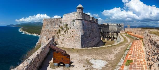 Castillo Del Morro Fort on Caribbean Coast guarding entrance to Santiage De Cuba Bay stock photo