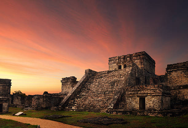 Castillo fortress in ancient Mayan city of Tulum stock photo