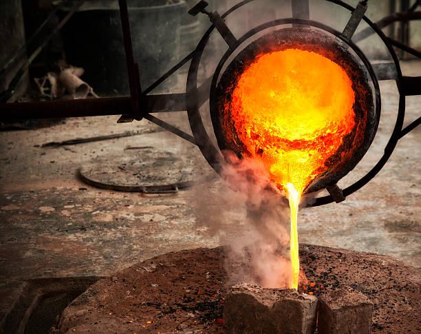 Casting Bronze. Italian bronze foundry. stock photo