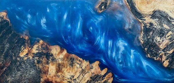 Casting Epoxy Resin Stabilizing Burl Afzelia Wood Blue Color