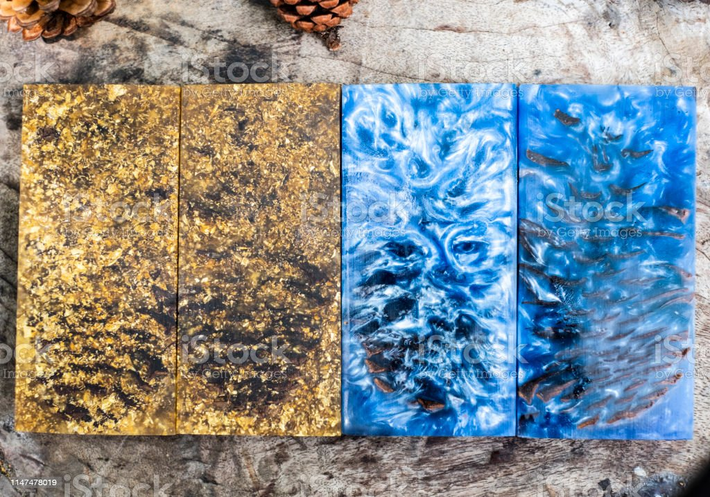Casting Epoxy Resin Stabilizing Pine Cone Blue Abstract Art