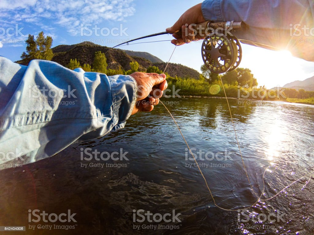 Casting on River Fly Fishing stock photo