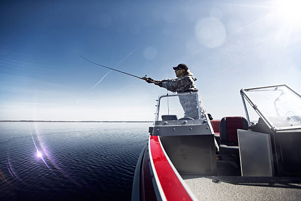 Casting Angler in action freshwater fishing stock pictures, royalty-free photos & images