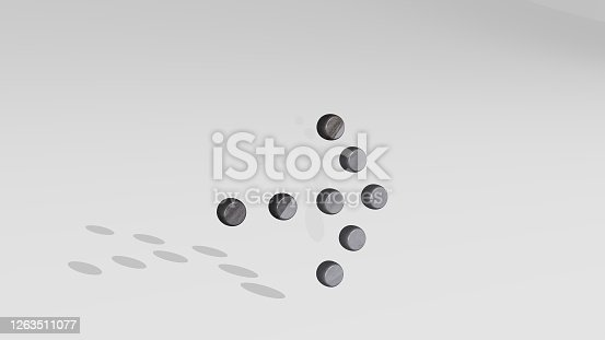 istock ARROW THICK DOT RIGHT casting shadow from a perspective. A thick sculpture made of metallic materials of 3D rendering. illustration and background 1263511077