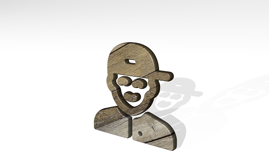 istock PEOPLE MAN CAP casting shadow with two lights. 3D illustration of metallic sculpture over a white background with mild texture. business and concept 1257210856