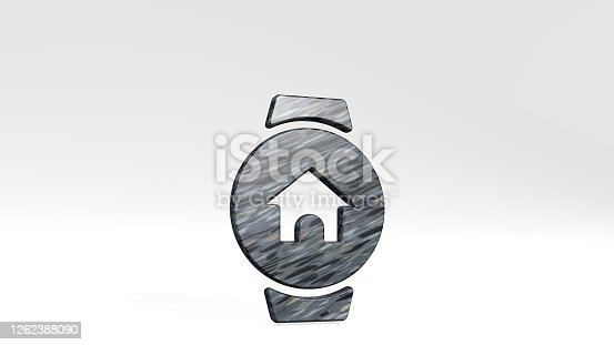 istock SMART WATCH CIRCLE HOME casting shadow with two lights. 3D illustration of metallic sculpture over a white background with mild texture. phone and business 1262388090
