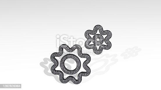 istock COG DOUBLE casting shadow with two lights. 3D illustration of metallic sculpture over a white background with mild texture. gear and cogwheel 1262826364