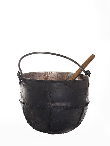 cast-iron cauldron stock photo