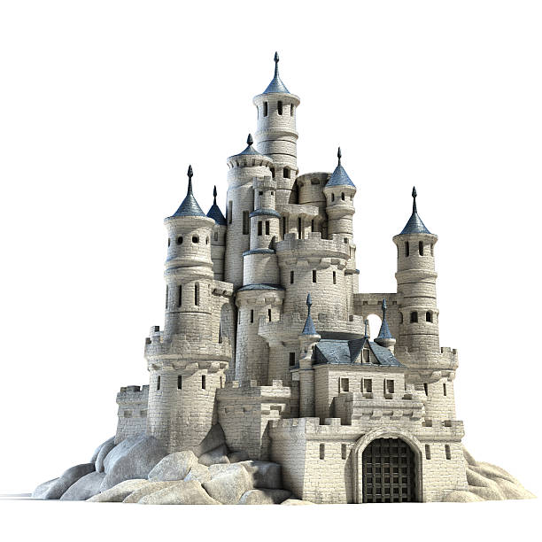 castle 3d illustration - castle stock photos and pictures