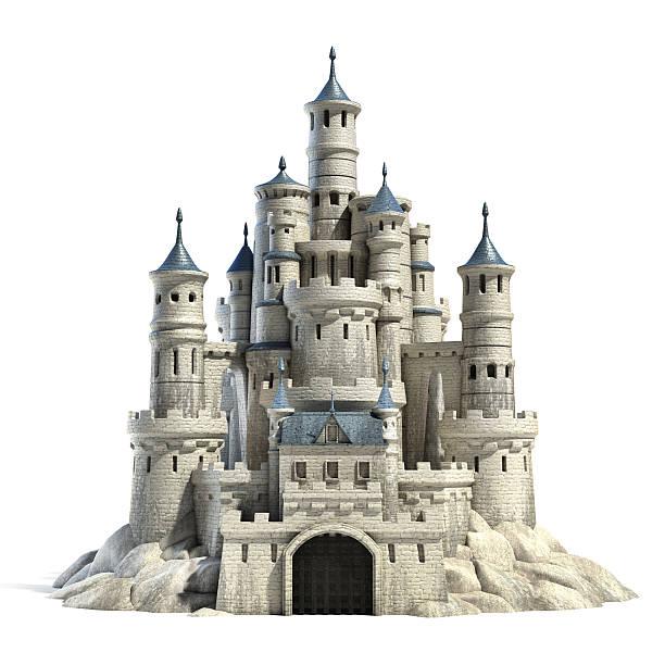 castle 3d-illustration - märchenillustrationen stock-fotos und bilder