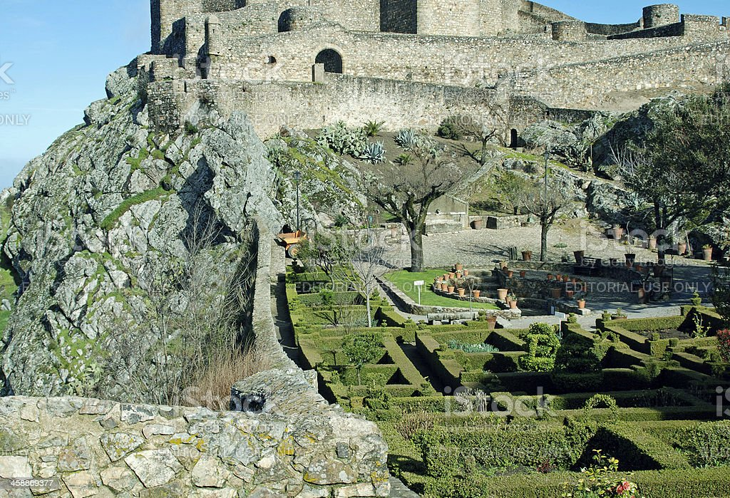 Castle above formal gardens at Portuguese town of Marvao royalty-free stock photo