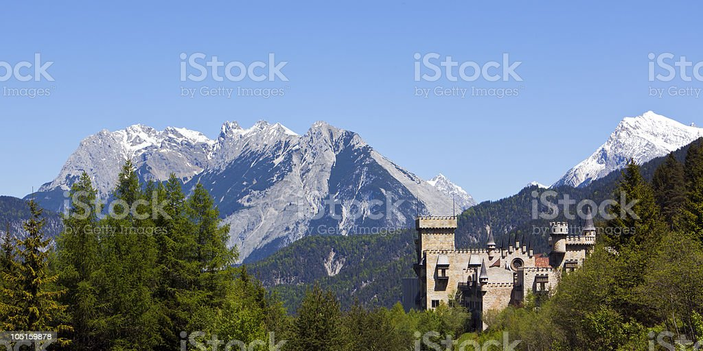 castle and alpine panorama royalty-free stock photo