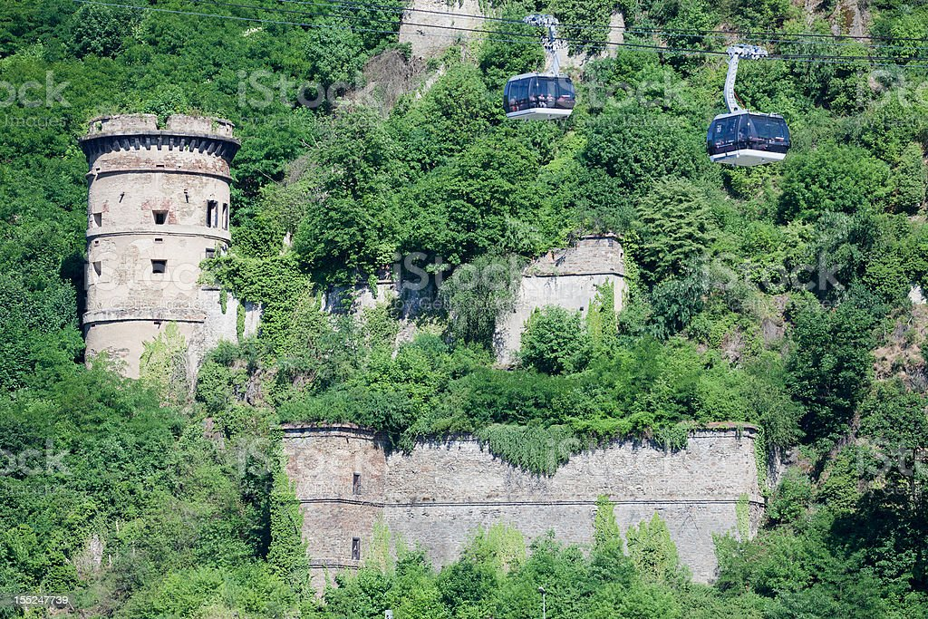 Castle and Cable Car royalty-free stock photo