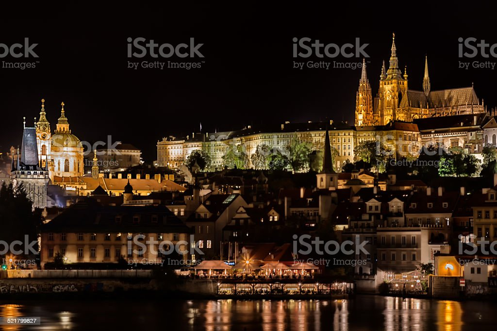 Castle and St. Nicholas church stock photo