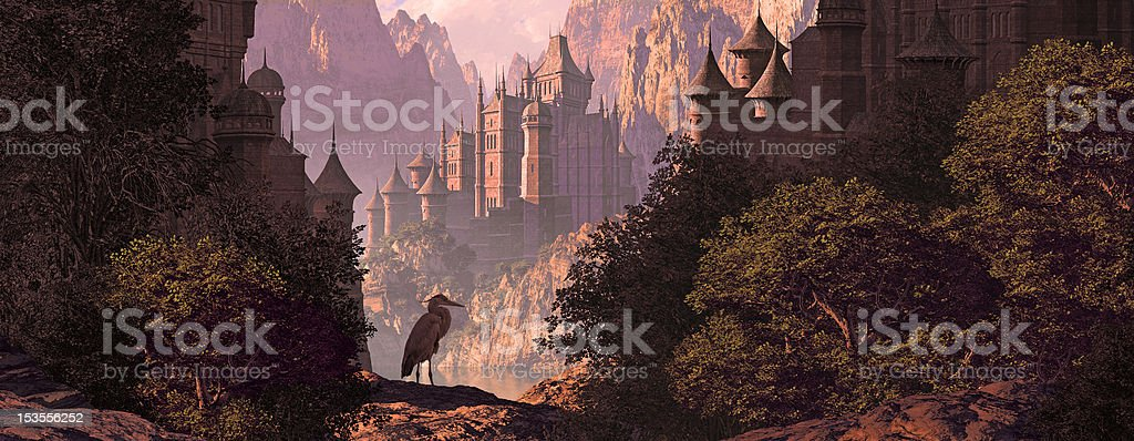 Castle And The Great Blue Heron stock photo