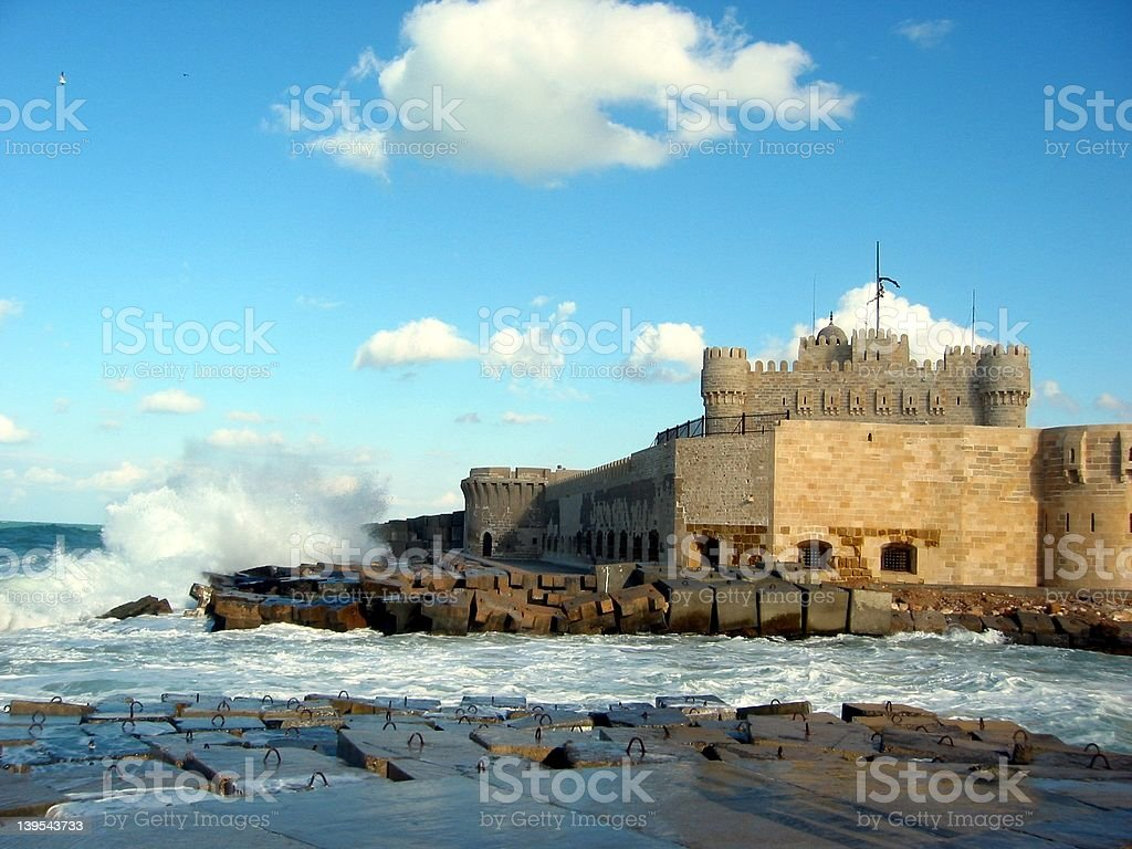 Castle and Waves stock photo
