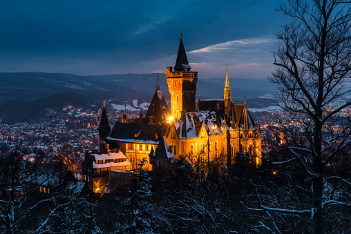 Castle and Wernigerode in Winter