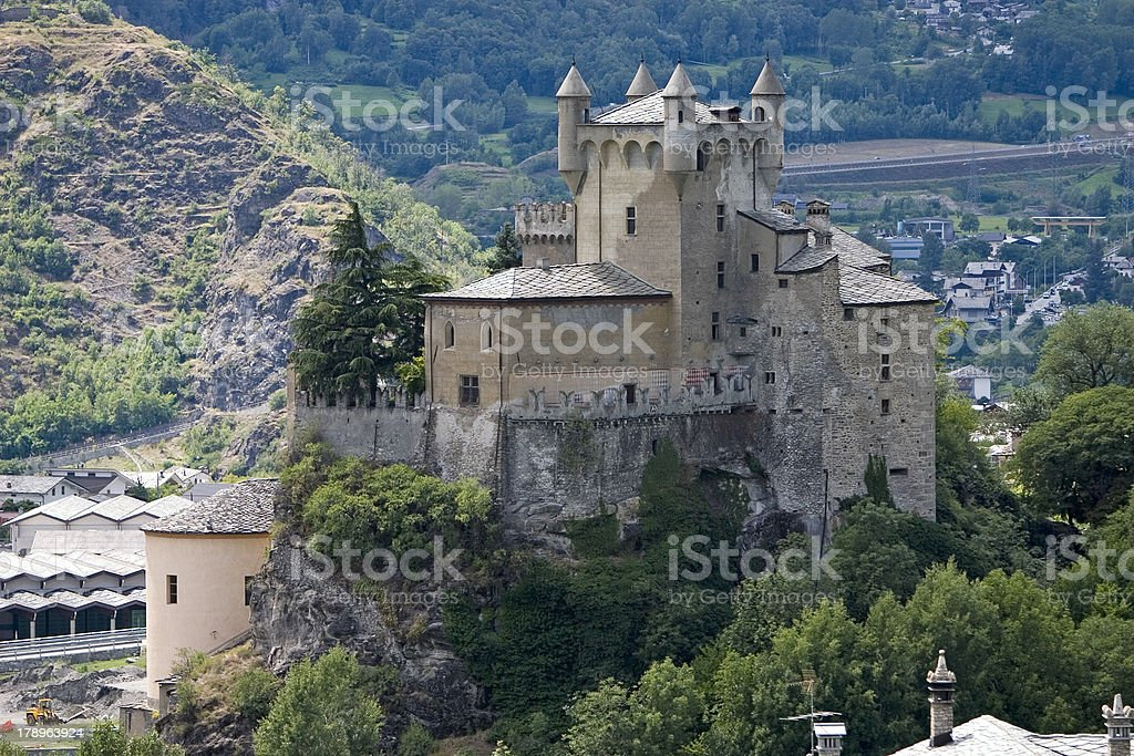 Castle at Saint Pierre (Aosta Valley, Italy) stock photo