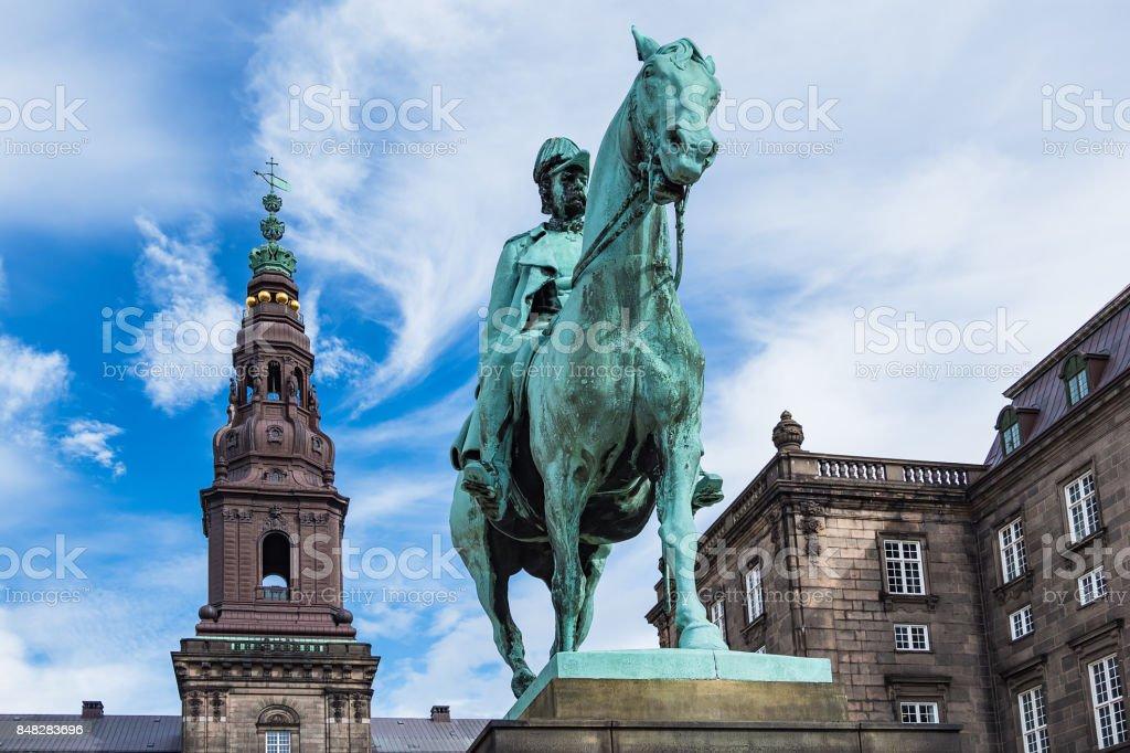 Castle Christiansborg in the city Copenhagen, Denmark stock photo
