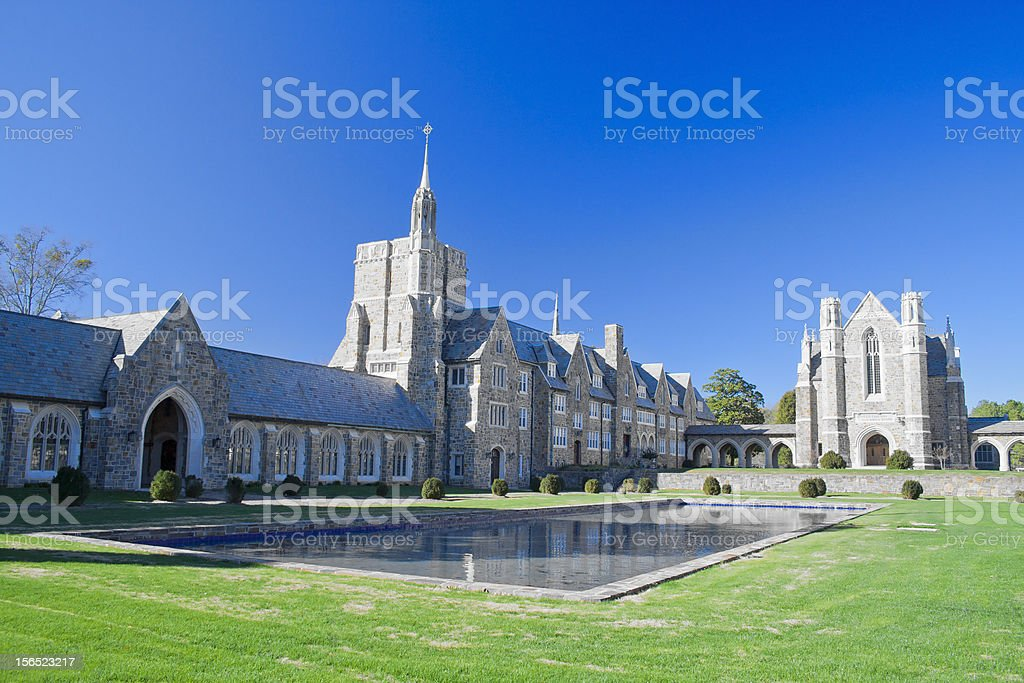 Castle church and pond stock photo