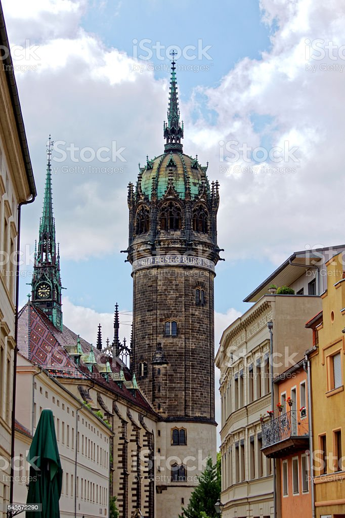 Schlosskirche in Wittenberg Lutherstadt - historical city stock photo