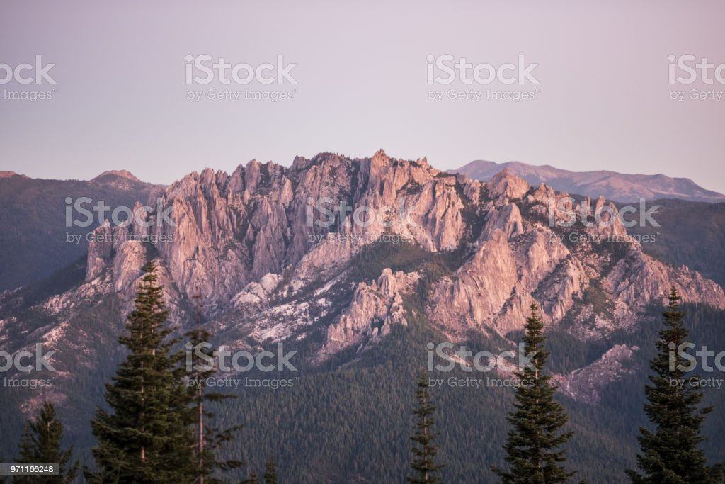 Castle Crag at sunset - golden hour stock photo