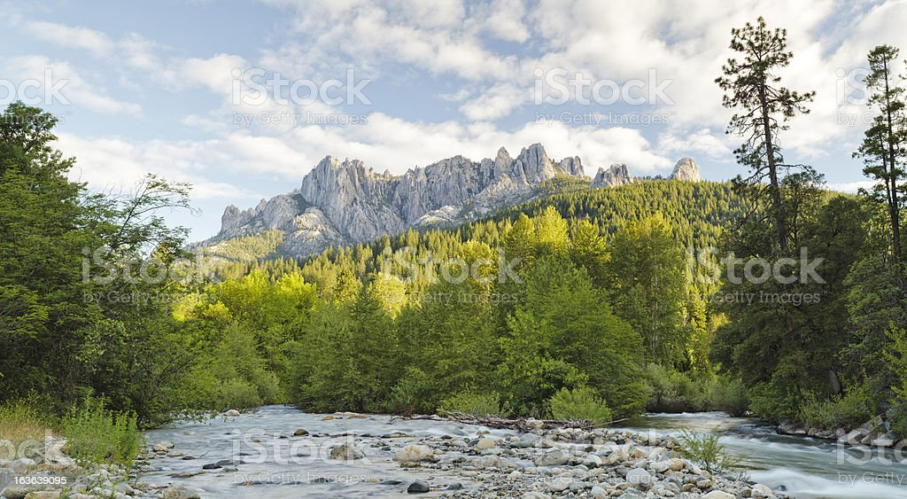 Castle Crags and Sacramento River panorama royalty-free stock photo