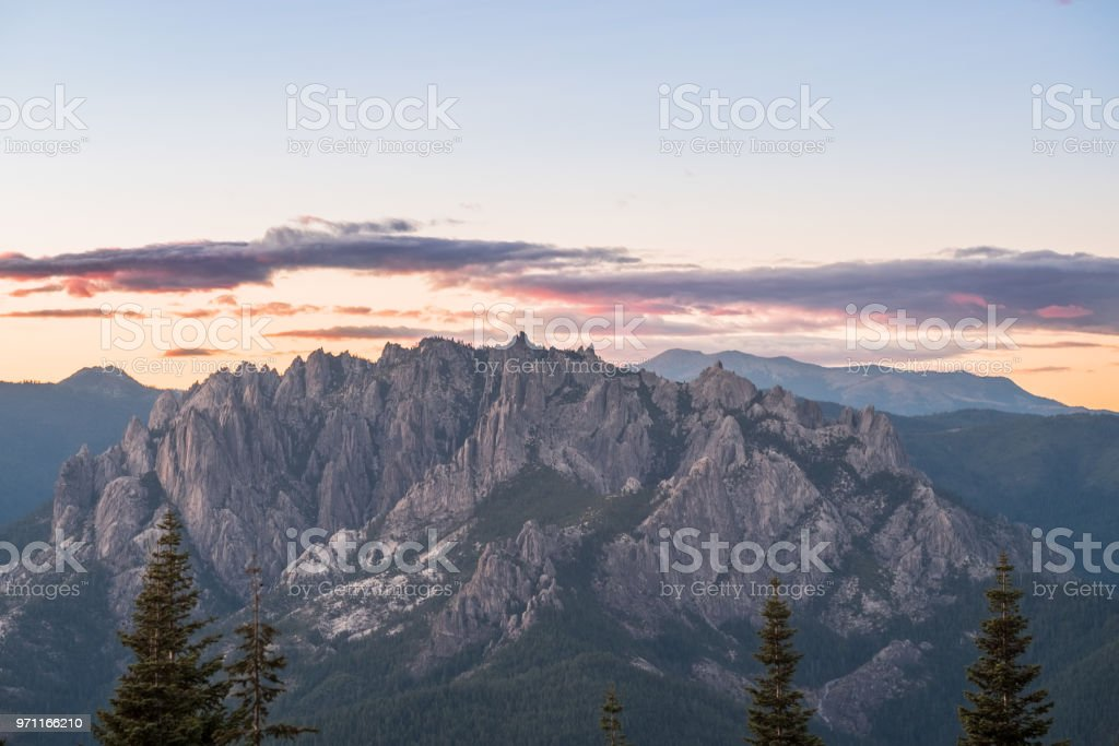 Castle Crags at sunset - mountain range stock photo