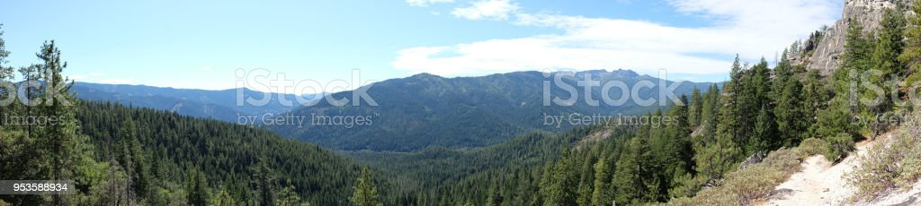 Castle Crags Panaorama - Forest - Mountain stock photo