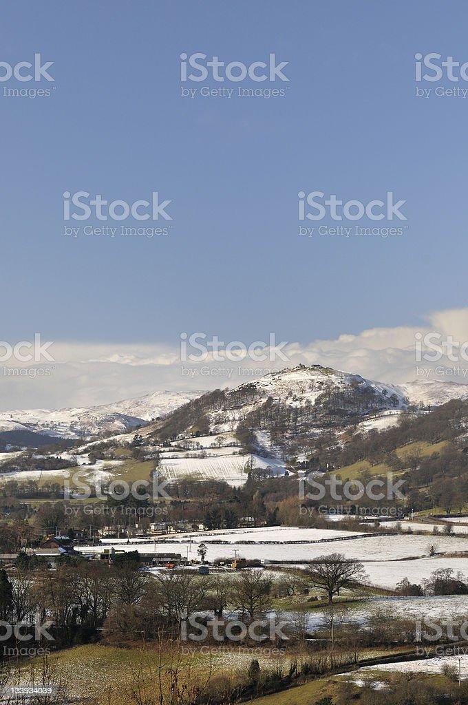 Castle Dinas Bran in snow. royalty-free stock photo