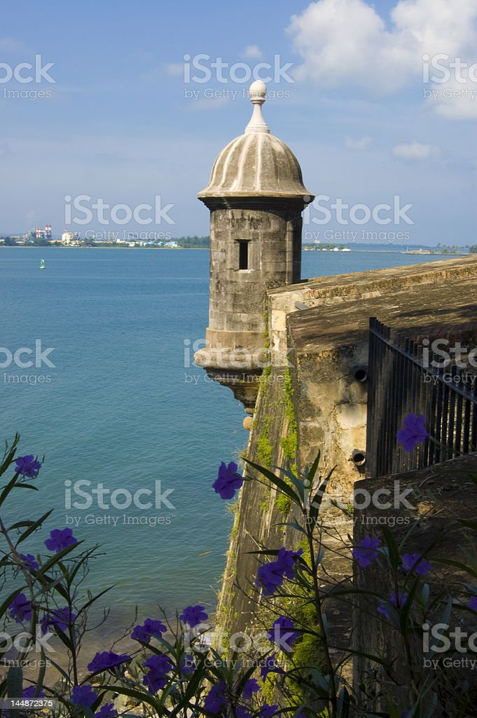 Castle El Morro Lookout Point This is a lookout point overlooking the harbor along the outside wall near the Castle of San Felipe del Morro in the Old Town section of San Juan, Puerto Rico. Architecture Stock Photo