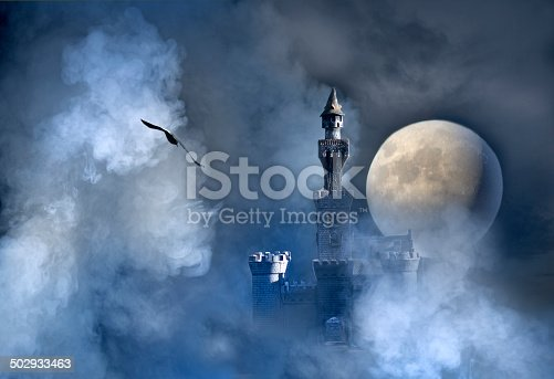 Old fantasy castle in the clouds