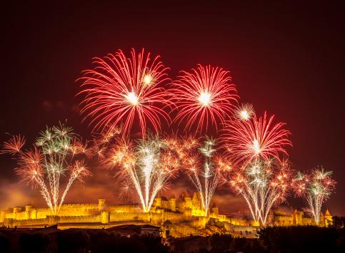 Castle Fireworks celebration Carcassone