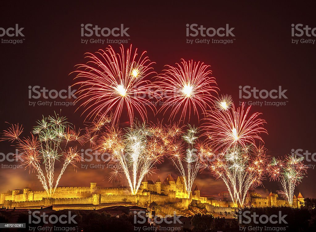 Castle Fireworks celebration Carcassone stock photo