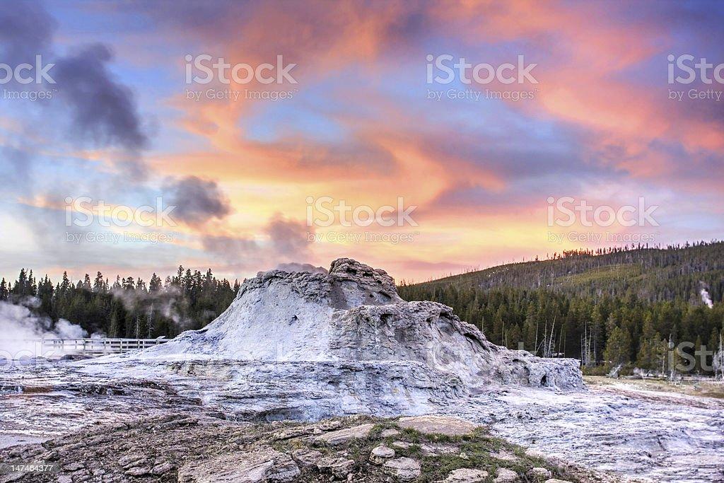 Castle Geyser at Sunset (Yellowstone) stock photo