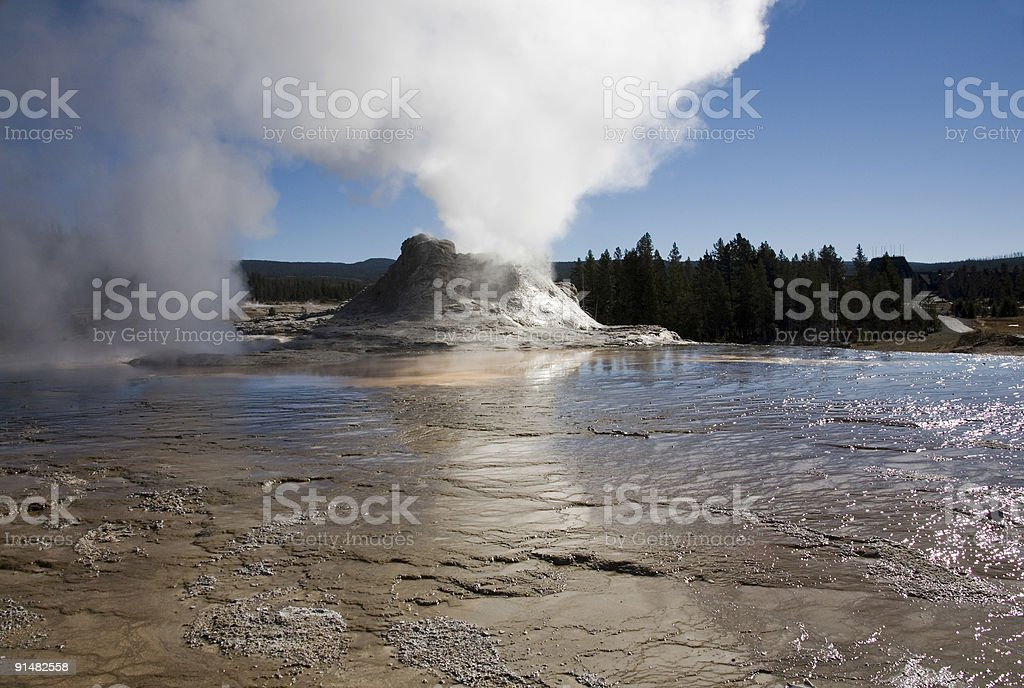 Castle Geyser at Yellowstone stock photo