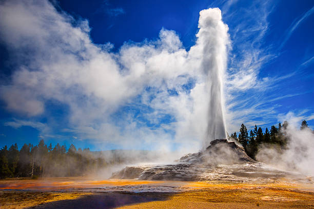 Castle Geyser erupting in Yellowstone stock photo