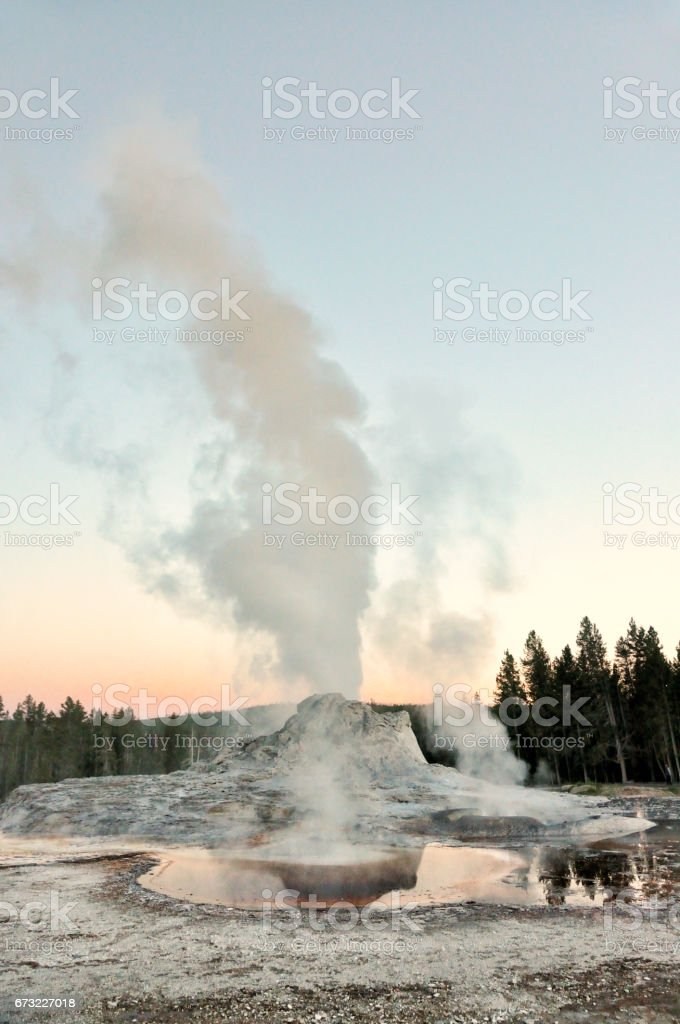 Castle Geyser Eruption at Yellowstone National Park stock photo