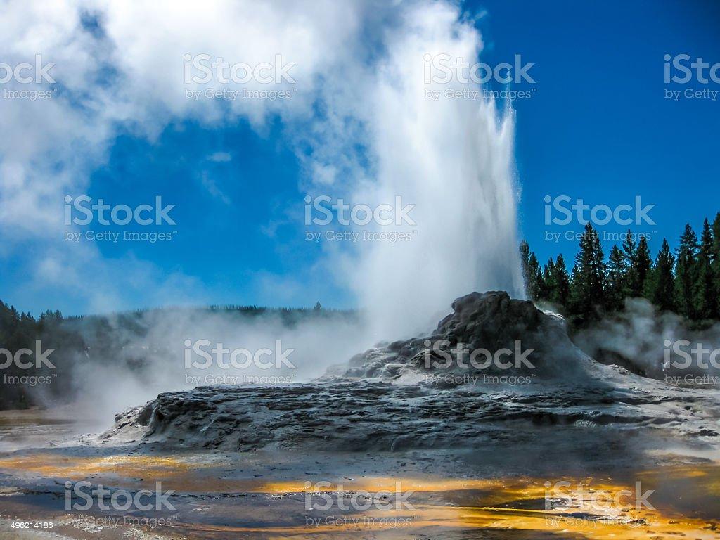 Castle Geyser Eruption Yellowstone stock photo